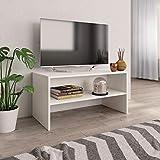 vidaXL Mueble TV Estante Mesa Baja Televisión Aparador Televisor Módulo Diseño Simple Compartimento Salón Habitación Comedor Sala Aglomerado Blanco