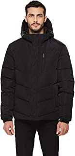 Men's Heavy Duty Down Coat with Removable Hood Winter Insulated Parka Puffer Jacket