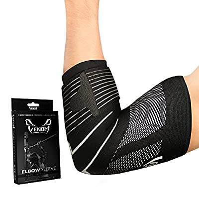 Venom Strapped Elbow Brace Compression Sleeve - Elastic Support, Tendonitis Pain, Tennis Elbow, Golfer's Elbow, Arthritis, Bursitis, Basketball, Baseball, Golf, Lifting, Sports, Men, Women (Large)