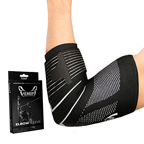 Venom Strapped Elbow Brace Compression Sleeve - Elastic Support, Tendonitis Pain, Tennis Elbow, Golfer's Elbow, Arthritis, Bursitis, Basketball, Baseball, Golf, Lifting, Sports, Men, Women (Large)