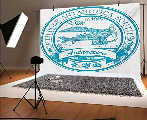 Vintage Airplane 10x8 FT Vinyl Backdrop PhotographersSouth Pole Antarctica Words on Retro Style Blue Stamp Grunge Airplane Background for Party Home Decor Outdoorsy Theme Shoot Props