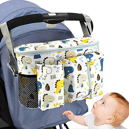 Timertick Bolsos para Carritos de Bebé, Bolso Carro Bebe con Portavasos y Correa Para El Hombro, Almacenamiento para Pañales (Blanco)