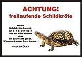 INDIGOS UG Türschild FunSchild - Schildkröte - für Käfig, Zwinger, Haustier, Tür, Tier, Aquarium - DIN A4 PVC 3mm stabil thumbnail