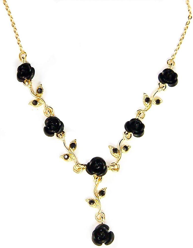 Women's Fashion Jet Black Austrian Crystal Metal Rose Gold Tone Link Flower Necklace, 15