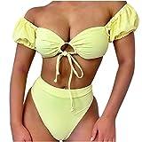 1919 Traje de Baño Mujer Bikini Bandeau Bañadores Palabra de Honor con Estampado Tropical Conjunto...