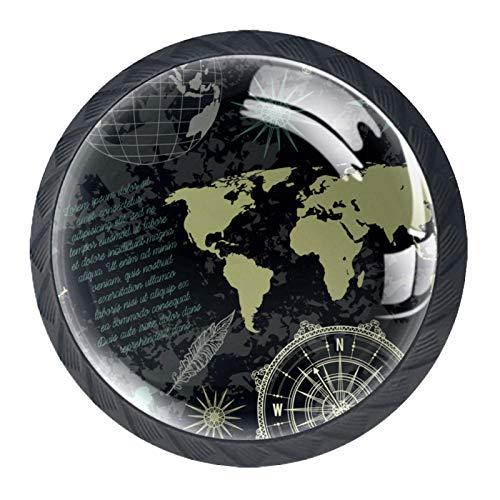 Gbziyjk Schubladenknöpfe Runde Schrankgriffe ziehen für Home Office Küche Kommode Kleiderschrank Dekorieren,Nahtloses Muster Vintage Globe Compass World