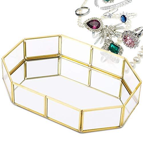 Bandeja de maquillaje de vidrio con espejo Organizador de perfume de joyería(S)