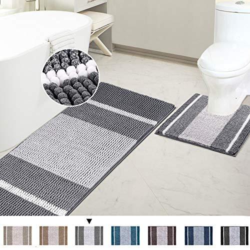 Bathroom Rugs Luxury Chenille Mat Set Soft Plush Shower Rug + Toilet Mat, Microfiber Striped Shaggy Carpet Bath Mats for Bathroom Machine Washable(Curved Set, 47' x 17'/20' x 20', Gray)