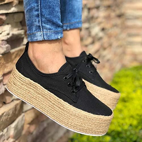 UMOOIN Zapatos de Plataforma 2020 de Las señoras de Moda los Zapatos de Lona Alpargata Gruesos Pisos Inferiores Zapatos de Las Muchachas ata para Arriba Alrededor del Dedo del pie Pisos Casual