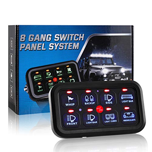 Partol 8 Gang Switch Panel Automatic Dimmable LED On-Off Car Control Panel Switch Circuit Control Box Electronic Relay System Universal Slim Touch Panel for Truck ATV UTV Boat Marine SUV- Blue Backlit