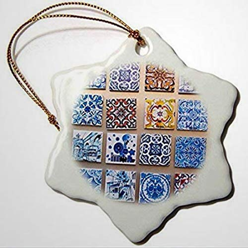 BYRON HOYLE Keepsake Portugal Lisbon Alfama District Many Versions of Colorful Tile Work Snowflake Ornament Christmas Ornaments Pandemic Xmas Decor Holiday present