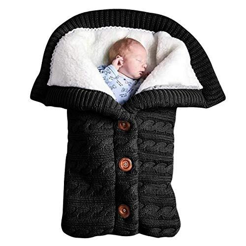 Manta para bebé recién nacido, manta de forro polar suave y cálida para bebé, bolsa de dormir unisex para niños y niñas, color negro