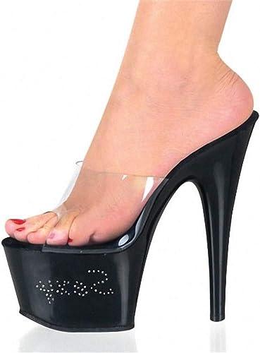 GHFJDO femmes Mules Mules Mules translucides, Talons de Bloc de Perspex d'été Souliers de Club de Printemps Chaussures Talons Hauts extrêmes de PVC pour la soirée de Noce Super Hautes Sandales,noir,42EU 465