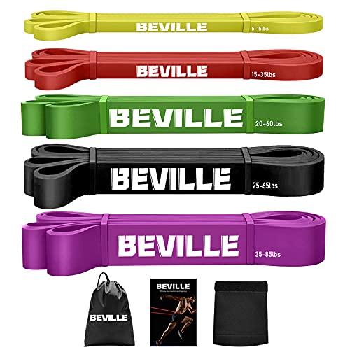 BEVILLE Fitnessbänder Resistance Bands Set Widerstandsbänder Naturlatex Gymnastikband für Pull Up Stretching Krafttraining Fitness Klimmzug und Muskelaufbau Pilate (Komplettes Set/5-85lbs)