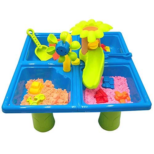 Juegos de arena y playa, mesa de agua y pizarras de agua, juguete de arena de plástico que incluye cubo, molde de arena, pala y etc. Mesa de actividad de playa para los niños