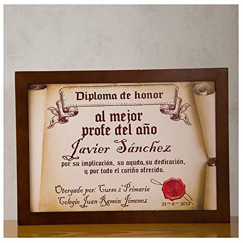 Calledelregalo Diplomas pergamino Personalizados para Todos los destinatarios (Al Mejor profe) con Marco