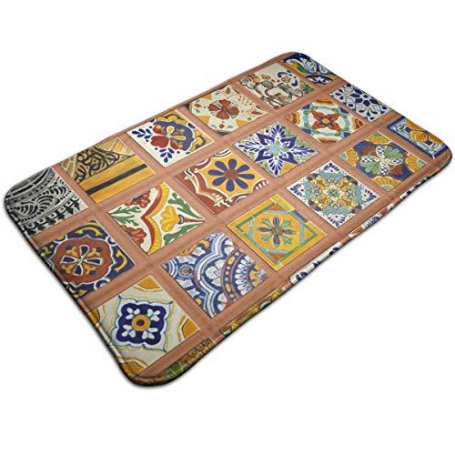 OKAYDECOR Comfortable Rug Contemporary Living & Bedroom Soft Shaggy Area Rug, Talavera Mexican Tiles, 19.5in x 31.5in