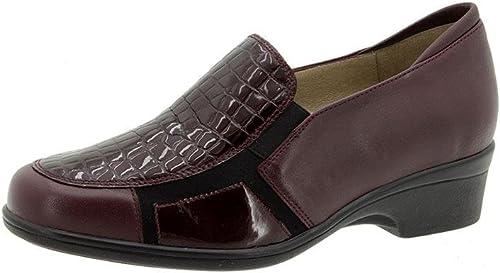 zapatos cómodos mujer PieSanto - Plantilla extraible - Elasticos laterales - Piel combinado con Coco, disponibles en Colors negro y burdeos - 7613 - 110 108