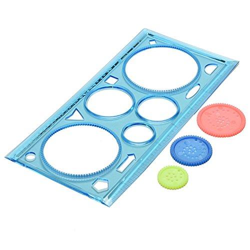 Oyfel - Regla de plástico de pintura para círculos mágicos infantiles creativos, material escolar, papelería, regalo de 18 cm, 2 unidades de color aleatorio
