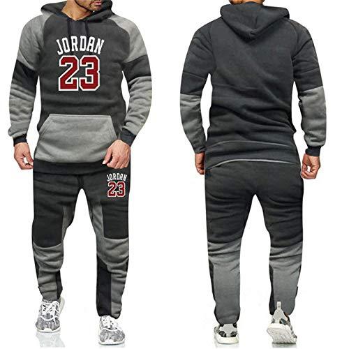 XMYP Conjunto de chándal para hombre, de manga larga, para correr, traje deportivo con capucha, sudadera y pantalones de deporte, color gris B-S