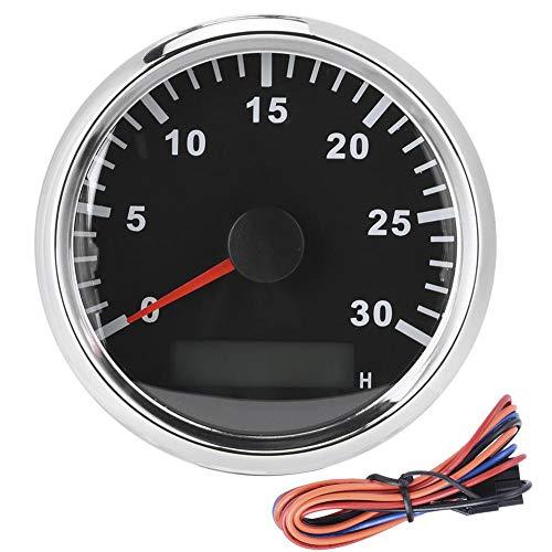 Ladieshow 85mm/3,3in Boot Drehzahlsensor IP67 Tacho Anzeige 12V/24V Rotlicht mit LCD-Display Service Stundenzähler 3000 U/min(schwarz)