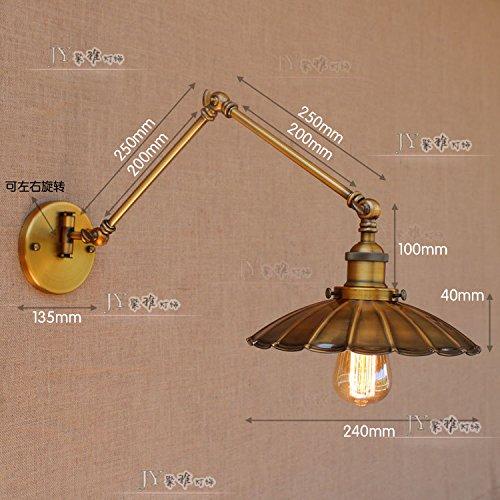 YU-K antieke wandlampen telescoop dubbele SectionLoftSingle kop voor bar, restaurant en koffie winkel woonkamer slaapkamer hal balkon Caster is perfect, 35 + 35 cm