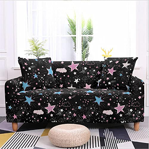 Estrellas Negras Azules Funda de sofá de 1 Plazas Funda Elástica para Sofá Poliéster Suave Sofá Funda sofá Antideslizante Protector Cubierta de Muebles Elástica