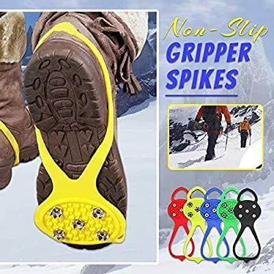 MFLB 2 Pair Universal Non-Slip Gripper Spikes,Ice Cleats Snow Grips Walk Traction Cleats for Boots Shoes,Safe Protect for Hiking Fishing Walking Climbing Mountaineering (Black)