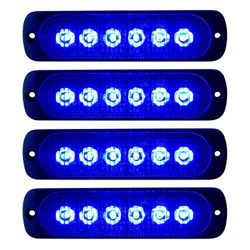 Nargut 4-teiliges ultraflaches 6-LED-Blitzlicht Auto-LKW-Notsignal Warngefahr Blitzlicht