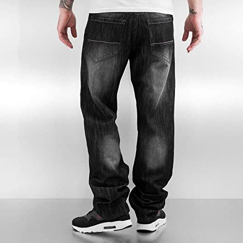 Southpole Mens 6181 Regular Straight Fit Shiny Streaky Denim in Black Sand