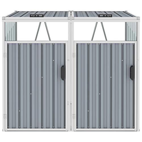 Tidyard Mülltonnenbox für 2 Mülltonnen Klappdeckel Mülltonnenverkleidung Müllbox Müllcontainer Gartenbox Grau 143×81×121 cm Stahl