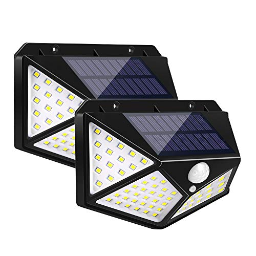 ZOYJITU Solarlampen für Außen Warmweiß 100 LED Solarleuchte 1800mAh 270° Weitwinkel Bewegungsmelder Solar Aussenleuchten Superhelle für Garten Gehweg Treppen 3 Modi 2 Stück