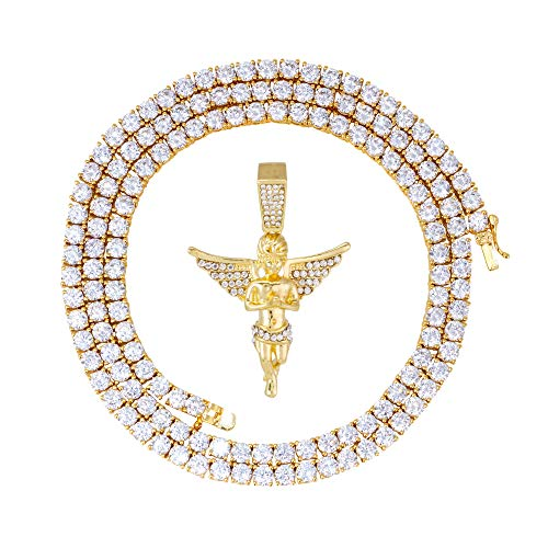 Iced Out Angel Pendant with Wings in 14k Gold Tone Religious Pendant + Chain Set - Simulated Lab Diamonds - Gold Tone 20' 4mm Tennis Chain & 24' 4mm Rope Chain