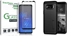 amFilm Glass Screen Protector for Samsung Galaxy S8 Plus, 3D Curved (Black) & Spigen Tough Armor Galaxy S8 Plus Case with Reinforced Kickstand for Samsung Galaxy S8 Plus (2017) - Black
