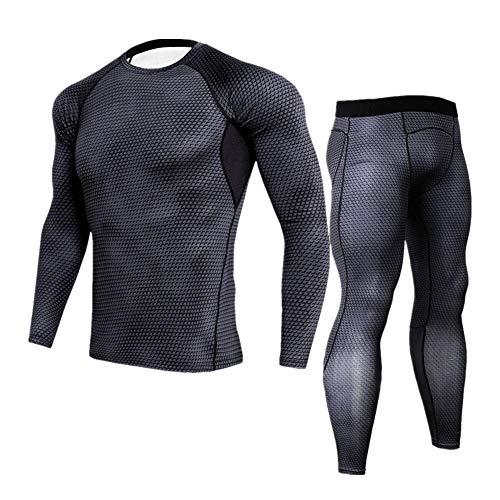 Morbuy Fitness Sportanzug Herren, 2 Stück Funktionsshirt Tights Schnell Trocknend Kompressions T Shirt & Kompressions Leggings Bekleidung (L, Schwarz)
