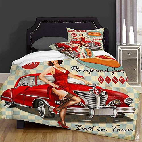 Duvet Cover Set-Bedding,Diner Hot Dog Vintage Pin Up Girl And Retro Car 1950S Cozy,Quilt Cover Bedlinen-Microfibre 140x200cm with 2 Pillowcase 50x80cm