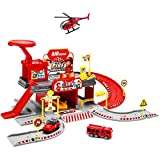 🔥【FUNNY DIY BUILDING】City Fire Station 51pcs fire fighting building kit will let kids create rescue adventure, includes everything a 2 level fire station parking lot would have such as helicopter and Fire truck. Such a great pretend play way to intro...