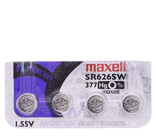 Maxell 377 SR626SW 1.55 Volt Silver Oxide Watch Batteries Factory Hologram (4 Batteries)
