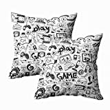 TOMKEY Standard Pillow Cases, 2 Packs Hidden Zippered 18X18Inch Computer Games Doodles Decorative Throw Cotton Pillow Case Cushion Cover for Home Decor,Black White 4