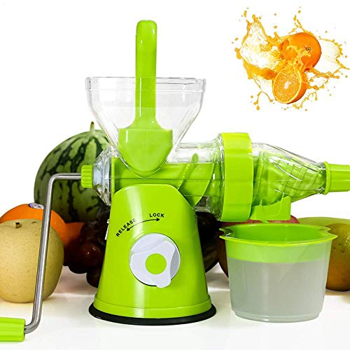 Entsafter, manueller Entsafter, Single Auger Health Juicer Obstgemüse-Extraktor Orange Lemon Citrus Squeezer Weizengras-Entsafter Multifunktionaler natürlicher Safthersteller, grün