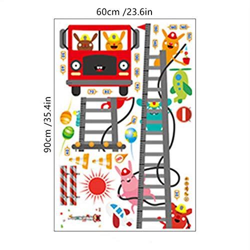 170 cm brandweerwagen ladder hoogte stickers cartoon dier brandweerman 3d vinyl muurstickers kinderkamer baby groeimeter grafiek muurschildering 60 * 90 cm, MJ8020