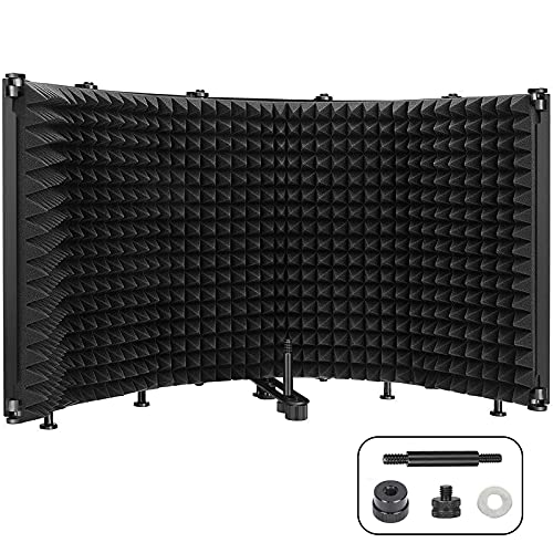 Microphone Isolation Shield, 5-Panel Pop Filter Professional Foldable...