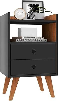 Mesa de Cabeceira Retrô Dream Plus - Preto com Nature - Rpm Móveis