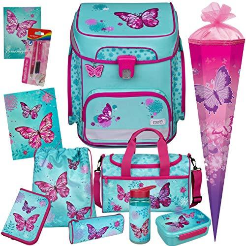 Butterfly - Schmetterling - SCOOLI Undercover EasyFit Schulranzen-Set 12tlg. mit Sporttasche, SCHULTÜTE, BROTDOSE, TRINKFLASCHE und Gummizugmappe A4 - HAUSAUFGABENHEFT und FÜLLER GRATIS