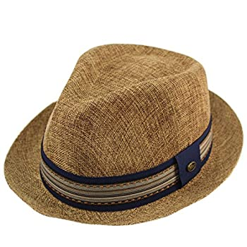 Epoch Men s Primo Summer Lightweight Linen Derby Fedora Upturn Brim Hat L/XL