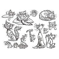 jokeWEN クリアスタンプ シリコンスタンプ かわいい猫のマウスシリコンシールスタンプDIYスクラップブッキングエンボスフォトアルバムカード