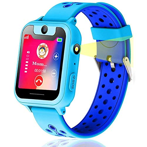 themoemoe Kids Smartwatch, Kids GPS Tracker Watch Smart Watch Phone for Kids SOS Camera Game Compatible with 2G T-Mobile(Blue)