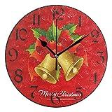 Jacque Dusk Reloj de Pared Moderno,Navidad Rojo Poinsettia Campana Copo de Nieve,Grandes Decorativos Silencioso Reloj de...