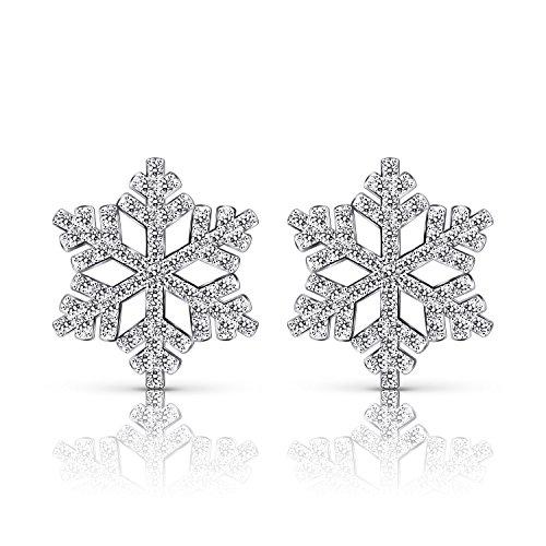 B. Catcher - Orecchini a perno in argento sterling 925 a forma di fiocco di neve,con zirconia cubica