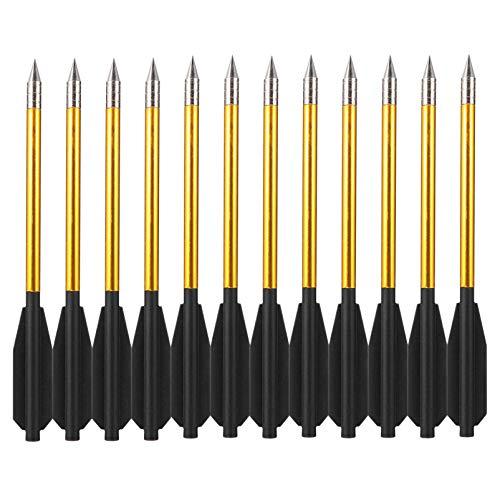CLISPEED 12Pcs Flechas Tiro con Arco Tiro Al Blanco Práctica Arcos Recurvos Tiro Divertido Juego Flechas para Jóvenes Niños Mujer Principiante (Dorado Negro)